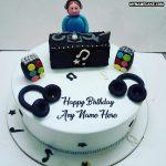 Write any name on DJ happy birthday cake