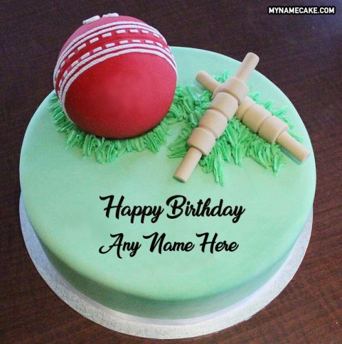 cricket theme cake with name