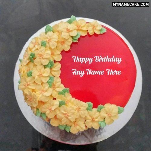 floral red velvet name cake