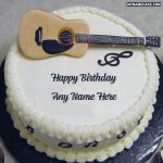 Write name on guitar happy birthday cake