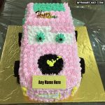 Write name on pink car bithday cake for kids
