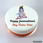 Write name on the Happy Janmashtami cake