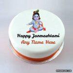 Write name on the Happy Janmashtami cake