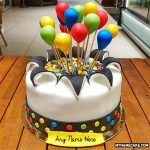 Write name on colorful balloons cake