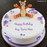 Write name on Cute tiger happy birthday cake