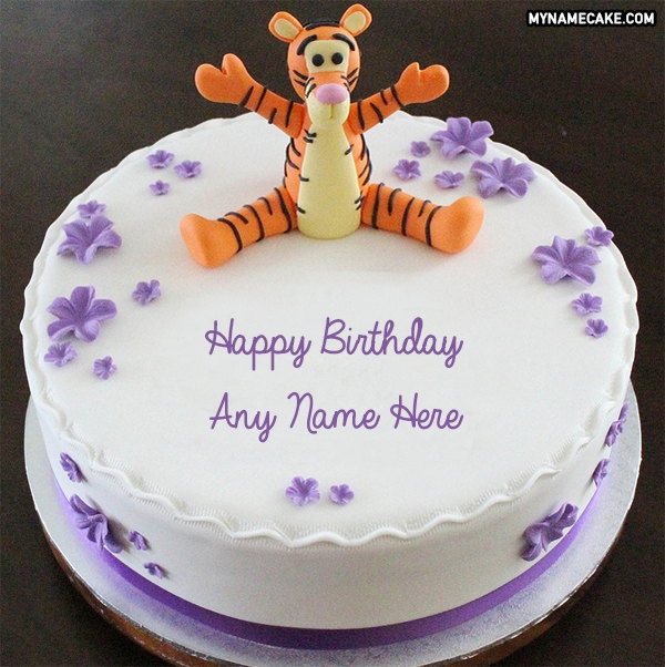 Write Name On Cute Tiger Happy Birthday Cake My Name Cake