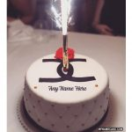 Write name on firework candles happy birthday cake