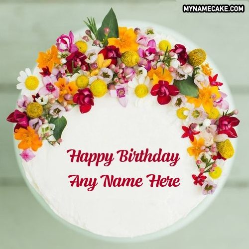 name floral birthday cake