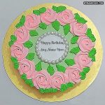 Write name on roses birthday cake photo