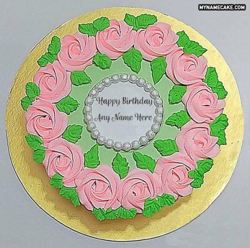 pink roses name cake pic