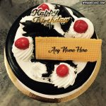 Write name on birthday cake with cherries