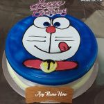 Write name on Doraemon happy birthday cake