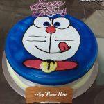 Write name on Doraemon happy birthday cake