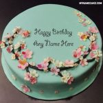 Green floral happy birthday name cake picture