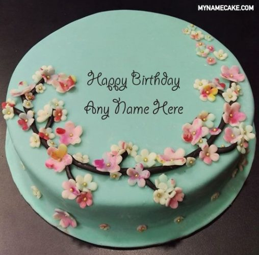 green floral name cake