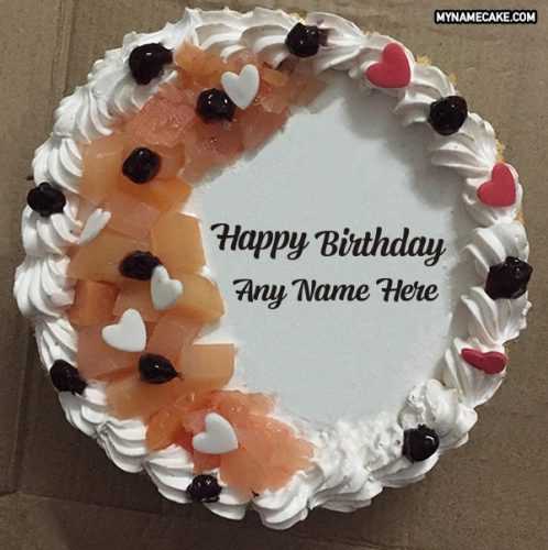 little hearts name birthday cake
