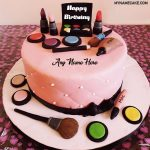 Write name on makeup birthday cake