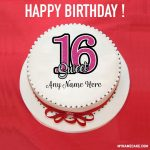 Write name on sweet 16 happy birthday cake pic