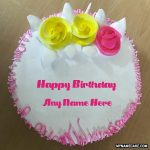 Happy birthday name cake with flowers