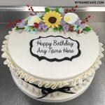 Flowers Happy Birthday Name Cake