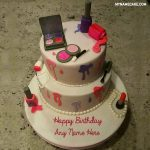 Makeup Birthday Name Cake For Girls