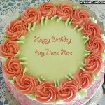 Write name on red roses birthday cake