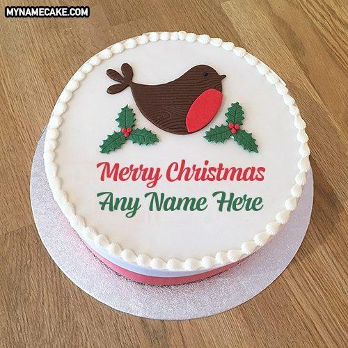bird christmas name cake