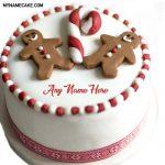 Write name on Gingerbread Man Christmas cake