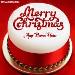Write name on Merry Christmas cake photo