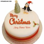 Write Name On Penguin Merry Christmas Cake