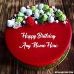Write name on red birthday cake pic