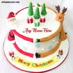 Write Name On Santa Claus And Christmas Tree Cake