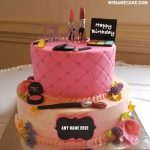Write name on makeup birthday cake photo