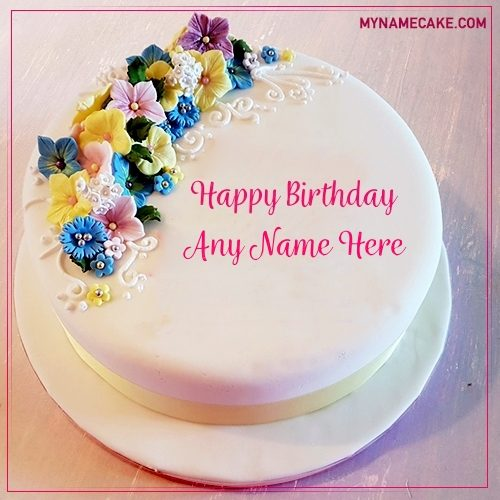 colorful flowers name cake