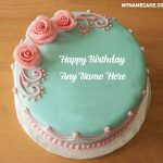 Pink Roses Happy Birthday Name Cake