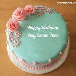 Pink Roses Happy Birthday Name Cake