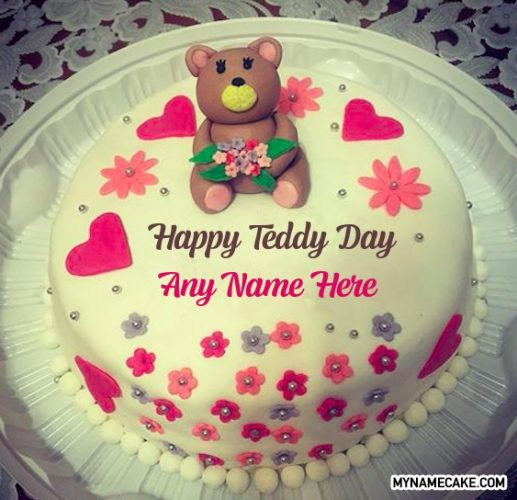 teddy day name cake