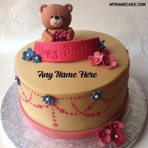 teddy flower name cake