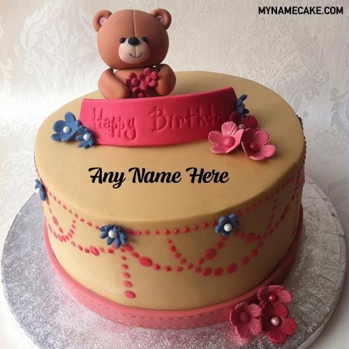 Miraculous Teddy With Flowers Name Birthday Cake My Name Cake Funny Birthday Cards Online Drosicarndamsfinfo