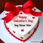 Heart Shape Valentine's Day Name Cake