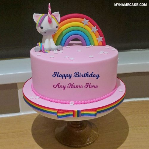 unicorn theme name cake