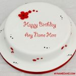 Write name on cute happy birthday cake